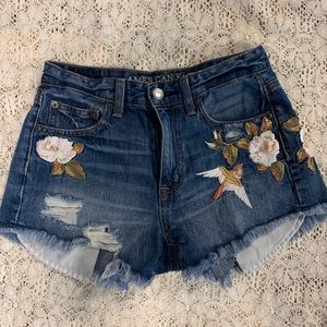 AE High waisted Denim Shorts with Embroidery